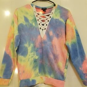 Rue21 Lace-Up Tie-Dye Sweater [Used]